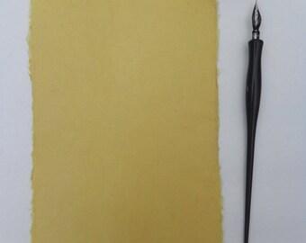 Ten sheets of handmade antique gold abaca kozo paper