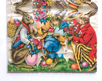 Germany Vintage Die Cuts- Easter- Rabbit Bunny- NOS- Unopened- Large- Baskets- Colored Eggs- Scrapbooking Crafts- PZB- Cost Plus Old Stock