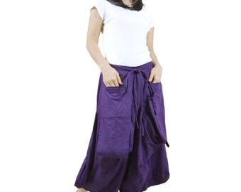 Together (Series II)...Funky Boho Hippie Unisex Pants In Dark Purple stretch Cotton