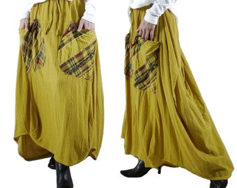 I Wish You Could See...Mustard Yellow Cotton Skirt With Roomy Patched Pockets Size 8 To Size 14