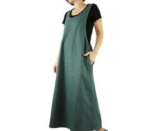 Chic Boho Casual Dark Green Cotton Mix Linen Cross Back Jumper Dress With 2 Pockets