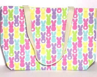 Tote Bag, Marshmallow Peep Bunnies, Peeps, Sping, Gift for her, Gift, Under 20 dollars, Teachers Bag, Valentines Gift,Teacher Gift