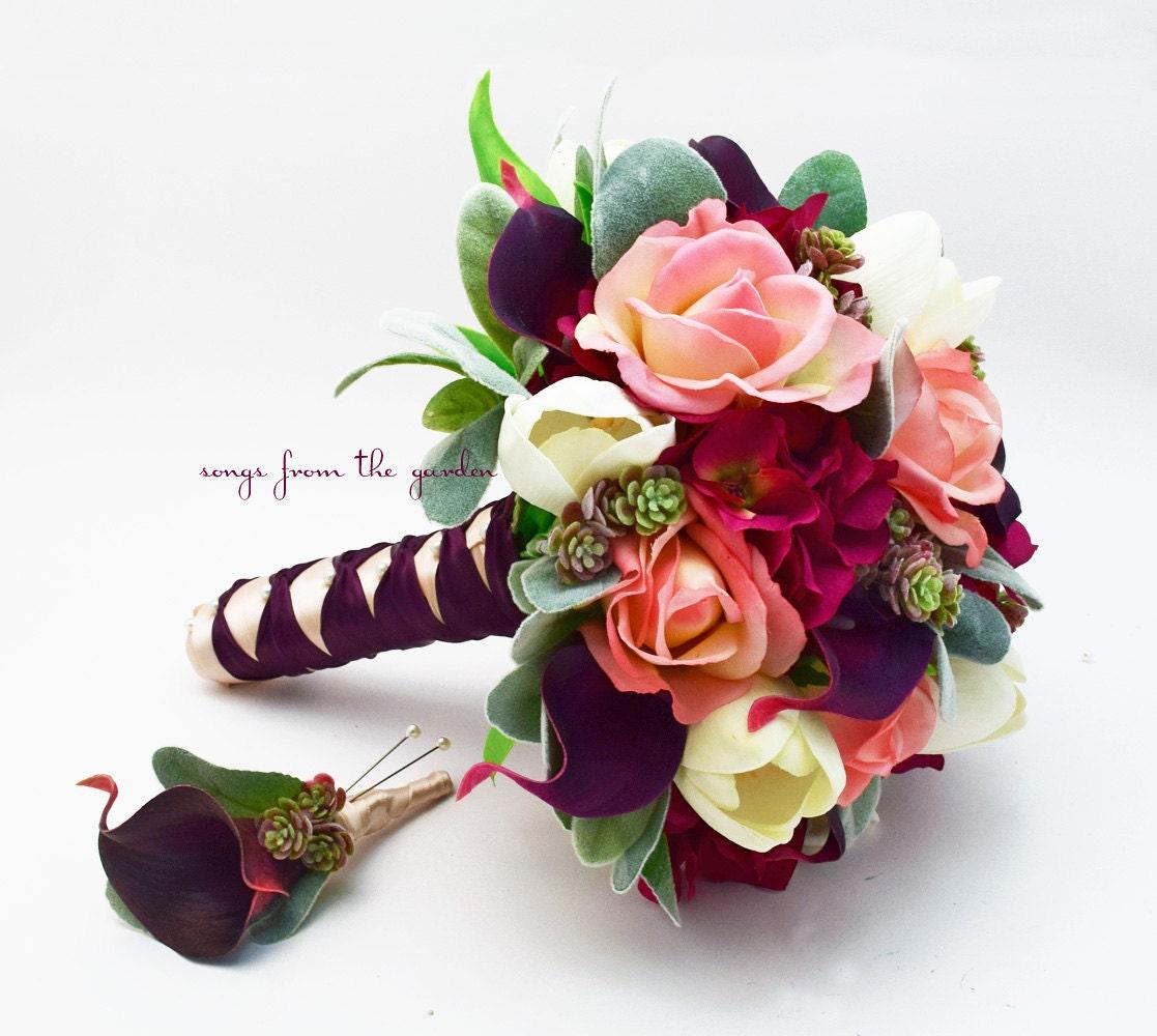 bridal bouquet plum burgundy peach ivory succulents calla. Black Bedroom Furniture Sets. Home Design Ideas
