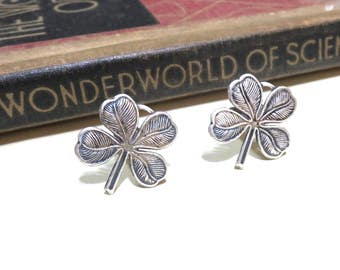 Antique Silver Clover Cuff Links - Four Leaf Clover Cufflinks - Wedding Cuff Links - Bridal Party - Shamrock - St. Patrick's Day