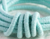Aqua Linen Cord medium rope Wrapped Thread 3.5mm thick, Choker Tubing Semisoft Fiber Wrap Cord Tube w/ polyester core (sold by the foot)
