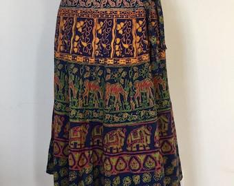Vintage 1970s Indian Wrap Skirt Tea Length Skirt - Maxi - sz Small medium