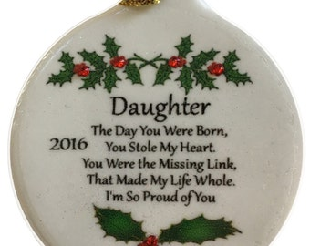 Daughter with Love Special Bond Porcelain Christmas Ornament Rhinestone Family Friend