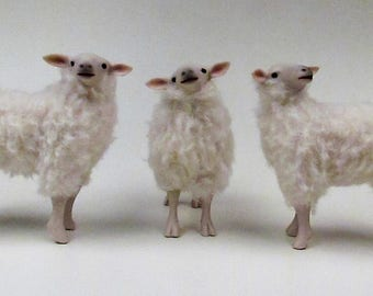 Doll House Scale Irish Galway Sheep Figurines in Porecelain and Wool