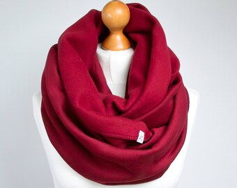 BURGUND Infinity Scarf with leather cuff, tube scarf with cuff,  hooded scarf, scarf, fashion scarf, scarf with strap ZOJANKA, chunky scarf