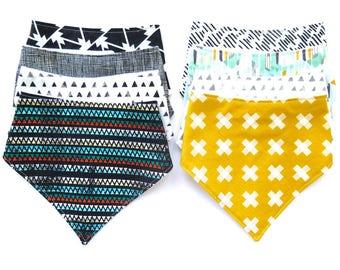 Tribal Boho Collection: Gender Neutral - Bibdana - Bandana Style Drool Bib - CHOOSE ONE - Baby Boy Gift - Boho Style - City Style