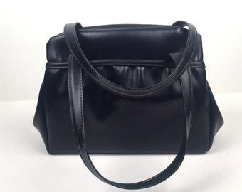 Vintage 1960s Navy Blue Faux Leather Handbag
