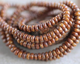 Beige & Brown Bronze Picasso Czech glass donut beads, Rondelle glass beads, 4mm, Brown Bronze Ricasso beads (100pcs) NEW