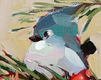 Tufted Titmouse and Berries Bird Art Print by Angela Moulton 5 x 5 inch