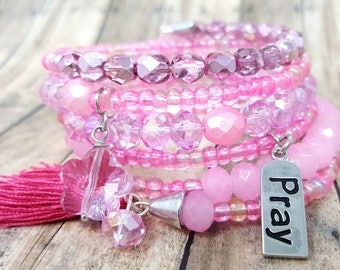 Pink Beaded Bangle, Gypsy Wrap Bracelet, Cotton Candy Pink, Gift for Her, Memory Wire Bracelet, Funky Boho Bracelet, Pink Chunky Bracelet