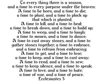 To Every Thing There Is A Season - Ecclesiastes 3 - Vinyl Wall Decal