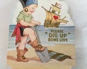 Antique Unused Seaside Valentine Two Sided Pop Out Card