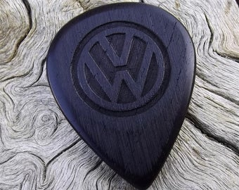 Wood Guitar Pick - Premium Quality - Handmade With African Blackwood - Laser Engraved On Each Side with the Volkswagon VW Emblem
