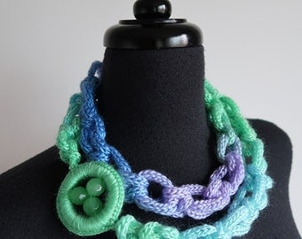 Lilac Lavender Violet Light Blue Mint SeaFoam Color Chunky Cords Ropes Crochet Chains Lariat Bib Necklace Crochet Ring with Glass Beads
