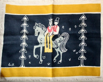 Liv Hassel Linen Textile - Hand Printed Couple on Horse - Danish Modern Norwegian