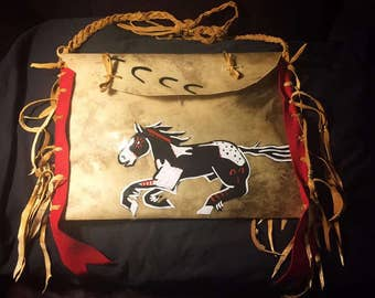 Native American Made Parfleche bag Rawhide with brain tan leather medicine bag deer pow wow regalia