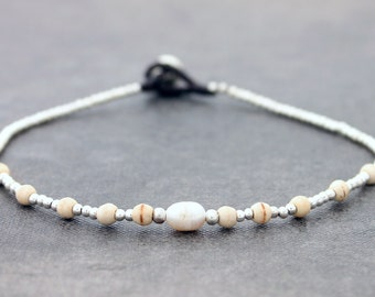 White Pearl Silver Minimal Anklet