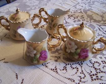 Vintage Lefton China Creamer sugar Bowl Set Pink, White Roses, Mint Condition, Porcelain Sugar & Creamer