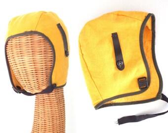 vintage pilot hat * aviator hat * yellow flannel flight helmet * child's size
