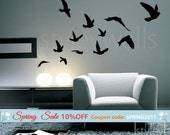 Flying Birds Wall Decal, Birds Wall Sticker, Flying Birds Set of 12 Vinyl Wall Decal for Office Home Decor Room Art, Flying Birds Sticker