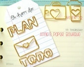 Set - COFFEE/Camera/PLAN/To Do/LOVE Letter Planner Clip, Gold Metal, Paper - Use on Erin Condren, Filofax, Happy Planner, Travelers Notebook