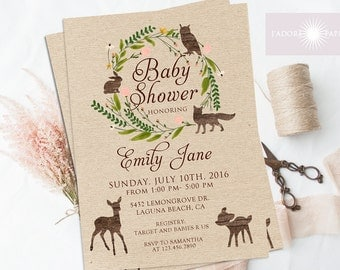 woodland baby shower invitation woodland baby shower woodland invitation rustic baby shower invite