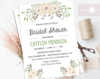 Romantic Bridal Shower Invitation, Green Rustic Invite, Natural Invite, Pastel Color Invitation, Printable, Elegant, Digital, jadorepaperie