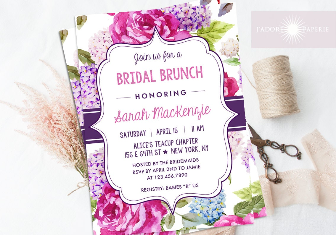 Bridal brunch invitation bridal shower invite printable for Wedding brunch invitations