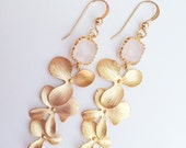 Gold Orchid and Pink Glass Earrings
