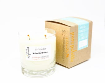 Atlantic Breeze Tropical Soy Candle in Whisky Glass Jar and Copper Stamped Kraft Box - Free Shipping
