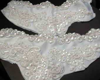 Sequin Bridal Appliques for Crafting, Sewing, 3 pcs., Pearl Trim, Craft Embellishment