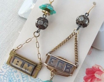 Vintage Upcycle Chic Earrings, with Initials, Monogram, Turquoise, Gold, and Rhinestone Findings