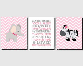 Jungle Animal Nursery Wall Art, Baby Girl Nursery Decor, Elephant, Zebra, Promise Me You'll Always Remember, Toddler Girl, Prints of Canvas