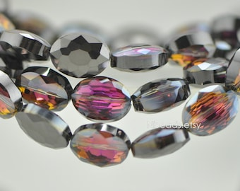 58pcs Oval Faceted Crystal Glass Beads 12mm, Sparkly Black Rose  -(TS01-14)