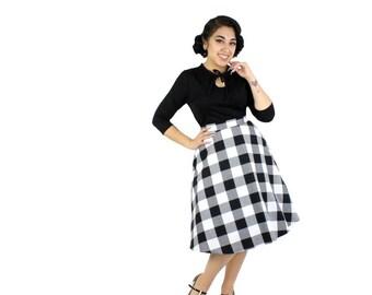 Black and White Gingham Circle Skirt