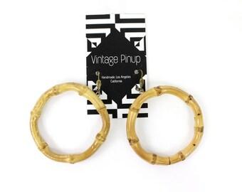 Tropical Tiki Bamboo Hoop Earrings