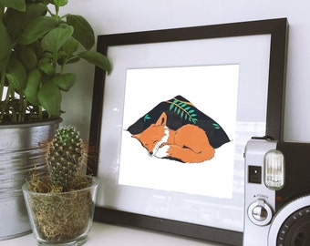 Fox Nap Color 8x10 Art Print