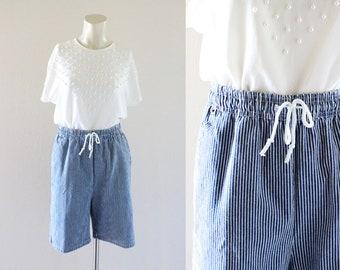 high waist stripe denim shorts / m
