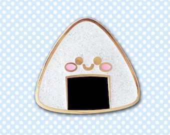 Kawaii Onigiri Rice Ball Pin - Hard Enamel with Glitter