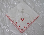 Vintage Valentines Handkerchief, Ladies Cotton Linen Hankie/Tea Napkin with a 3D Lace Heart, Embroidered Scrolls, Red Hearts, ECS, FREE SHIP