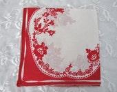 Pretty Vintage Handkerchief, Ladies Cotton Linen Hankie/Tea Napkin, Floral in Red and White, ECS, FREE Shipping