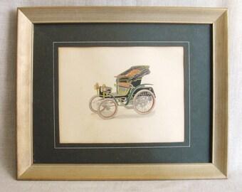 Vintage, Antique Car, Print, Illustration, Automobile, Art, Wall Decor, Framed Prints, Autos, Early Automobiles,Coach,Small Art,Wil Shepherd