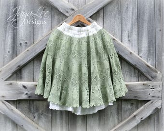 Reserved For AinsleyJenelle - 2nd Payment - Shabby Green Lace Skirt