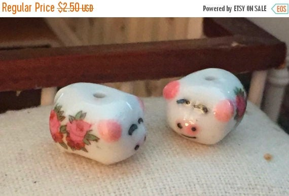 SALE Miniature Piggy Bank, Set of 2, Mini Ceramic Pigs With Roses, Dollhouse Miniatures, 1:12 Scale, Mini Banks, Dollhouse Piggy Bank Set