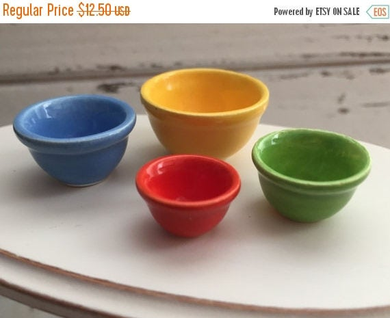 SALE Miniature Porcelain Nesting Bowls, Dollhouse 1:12 Scale, Mixing Bowls, Colored Bowls, 4 Piece Set