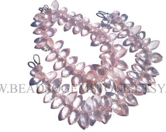 Rose Quartz Faceted Marquise (Quality AAA) / 6x9.5 to 7x13 mm / 18 cm / RO-054